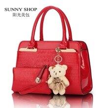 SUNNY SHOP 2 Bags/set Mit Bären Europäischen und Amerikanischen mode lässig alligator muster handtasche lackleder PU leder schultertasche