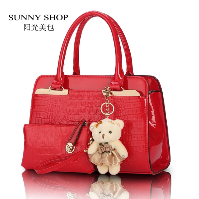 SUNNY SHOP 2 Bags/set With Bear  European and American fashion casual alligator pattern handbag patent PU leather shoulder bag