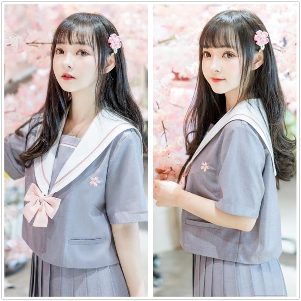 Japanese Kawaii School Students Women Sailor JK Uniform Long Sleeves Dress