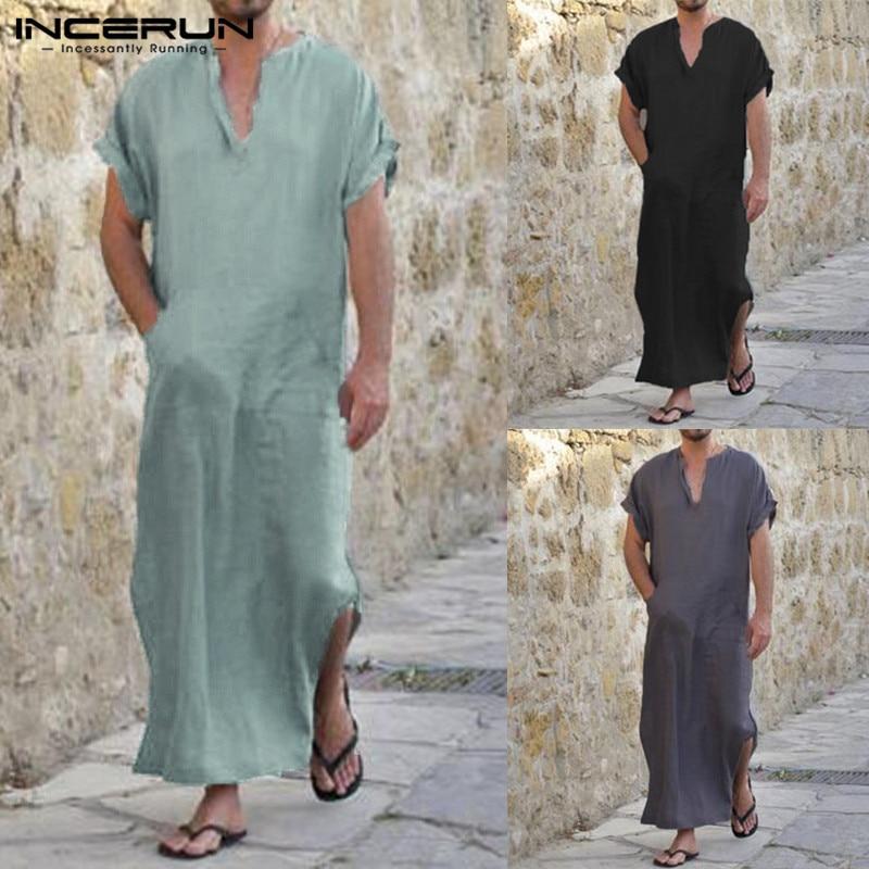 INCERUN Plus Größe 5XL Männer Shirts Kurzarm V-ausschnitt Solide Longline Hemd Vintage Lose Baumwolle Tops Männer Islamischen Arabischen Kaftan 2018