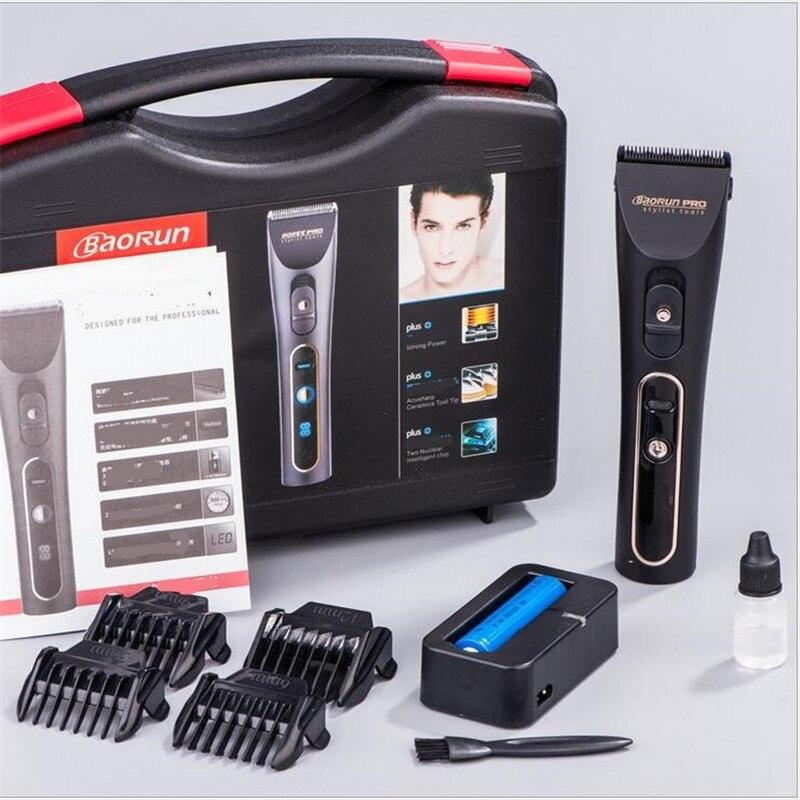 Professionnel LCD show électrique adulte tondeuse à cheveux tondeuse en céramique noire tête de rasoir coupe-cheveux machine salon de coiffure ciseaux coupe