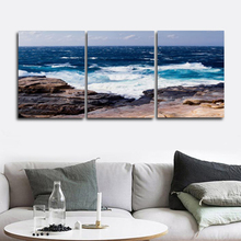 Laeacco Canvas Calligraphy Painting 3 Panel Poster Print Landscape Sea Wave Wall Artwork Pictures Living Room Home Decor