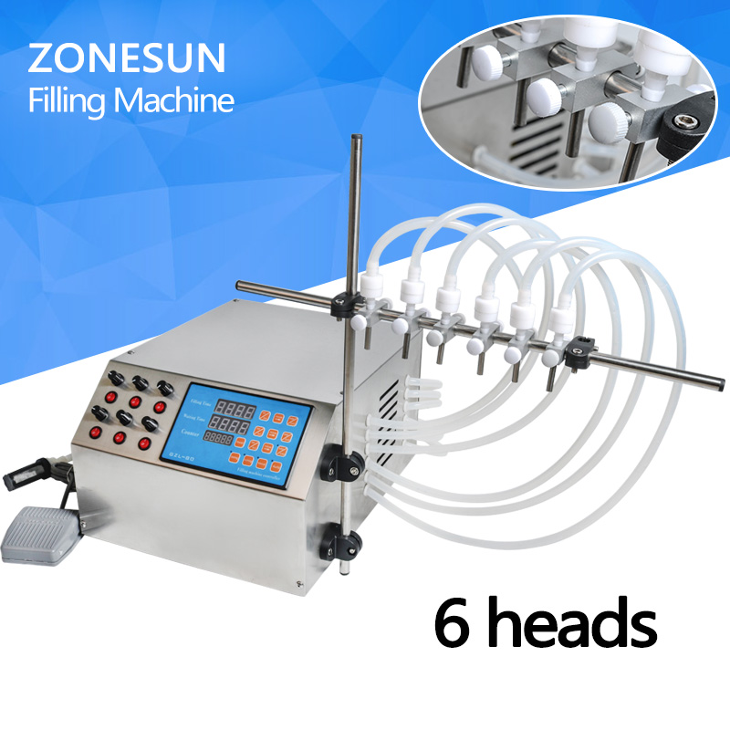 ZONESUN Electric Digital Control Pump Liquid Filling Machine 3-4000ml For bottle Perfume vial filler Water Juice Oil With 6 Head grovana dressline 4556 1562