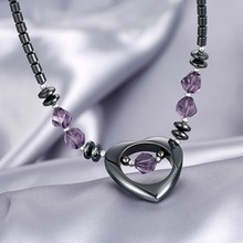 2016 New arrival classic Amethyst heart pendant necklace made with Swarovski Elements chain for 2016 women Christmas gift
