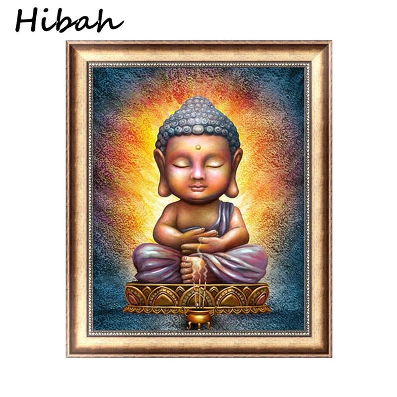 5d Diy Abstract Printing Diamond Schilderen Boeddhistische Boeddha Beeld Decoratie Canvas Art Bed Room Schilderijen No Frame Modieuze (In) Stijl;