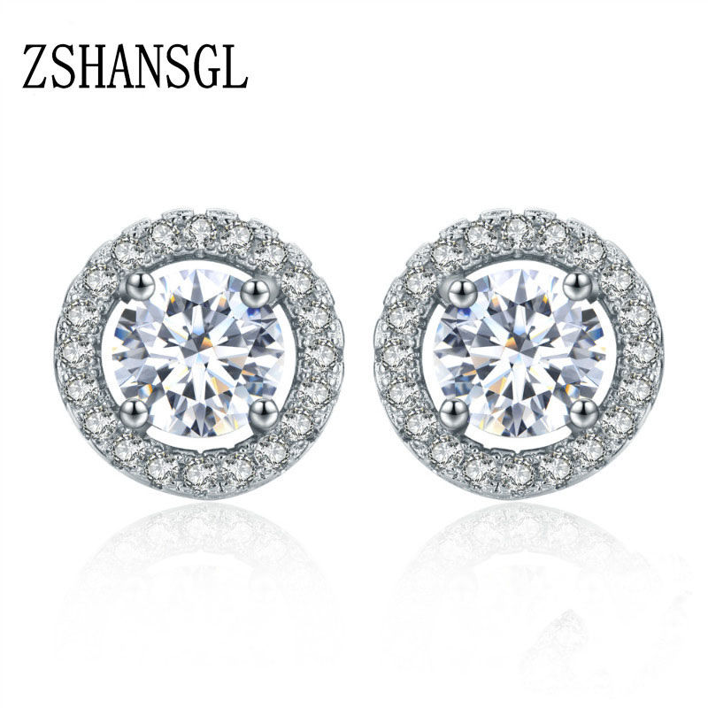 Estate 2 CTW Diamond Cut Sapphire Round Stud Argent sterling Boucles d/'oreilles