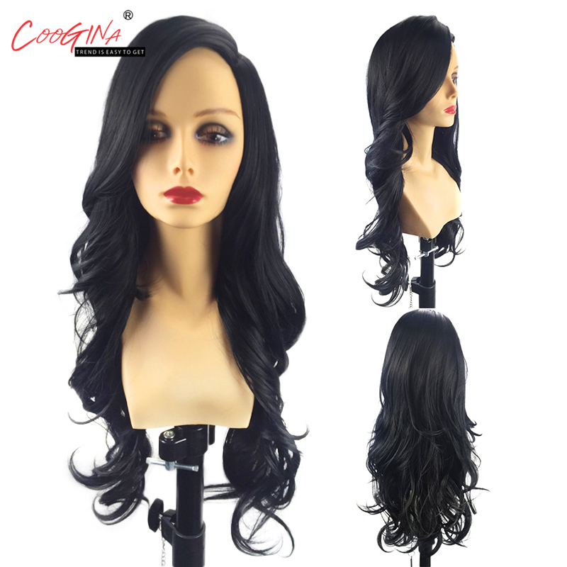 Coogina Synthetic Hair Natural Black Long Body Wave Synthetic Wig Heat Resistant Hair Wigs for Women Work Party 26inch 330g