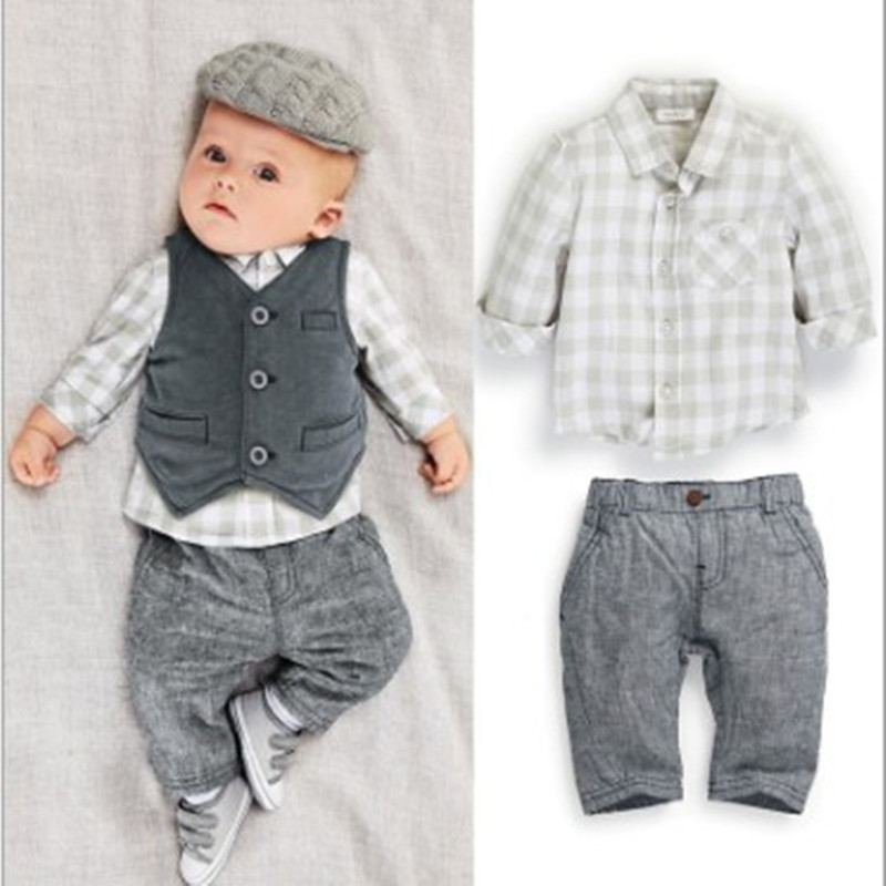 2018 Spring Newborn Baby boy Clothes Gentleman Baby Boy long-sleeved plaid shirt + vest pants / boy Outfits shirt pants set baby boy clothes monkey cotton t shirt plaid outwear casual pants newborn boy clothes baby clothing set