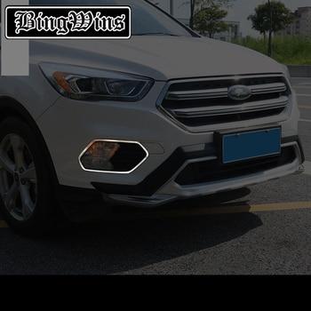 APTO PARA O Ford Kuga 2017-2018 DIANTEIROS E Traseiros CABEÇA FOG LIGHT FOG LÂMPADA LUZ CHROME TAMPA TRIM INSERIR QUADRO MOLDURA ESTILO DECORE