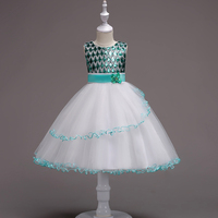 Summer Kids Party Clothes for Little Girls Sleeveless Sequined Fuchsia Blue Green and White Check Top Flower Girl Wedding Dress
