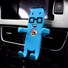 360 degree free rotation Creative Cartoon Silicon Air Vent Mount Car Phone Holder Air conditoner outlet Car Mobile Phone Holder цена