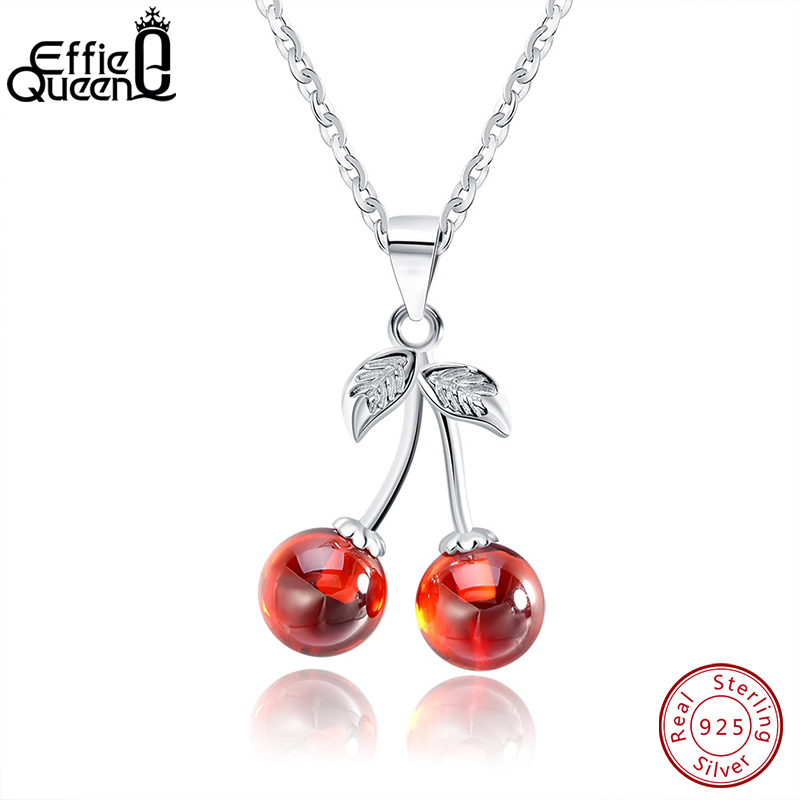 Jade Angel Sterling Silver Oval Red Cubic Zirconia Pendant Silver Chain Necklace