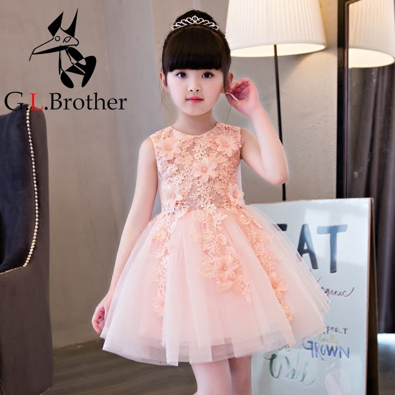 Royal Pink Flower Girl Dress Princess Girls Dresses Knee-Length Ball Gown Children Summer Dress Appliques Party Dress AA248