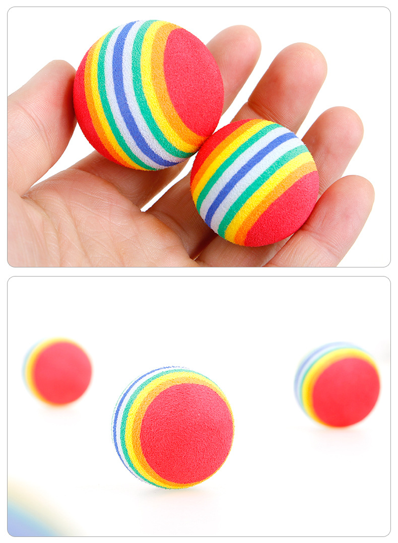 Pet Dog Rainbow Ball Toy Colorful EVA Rubber Safety Chew Toys for Small Dogs Cats Puppy Kitten Small Animals Pet Training Toys (3)