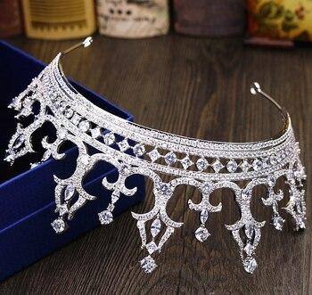 Micro Paved Cubic Zircon Tiara Luxury Zirconia Crown Wedding Hair Accessories Bride CZ Coroa Novia Bijoux Cheveux WIGO1186