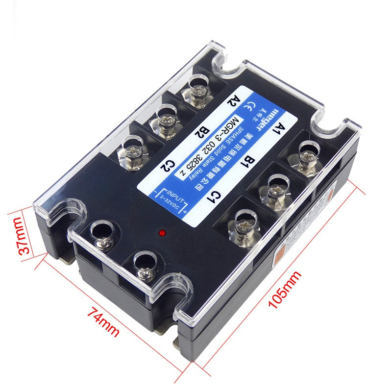 10pcs/lot 25A Mager SSR MGR-3 032 3825Z DC-AC Three phase solid state relay DC control AC 25A 380V ssr 25a single phase solid state relay dc control ac mgr 1 d4825 load voltage 24 480v