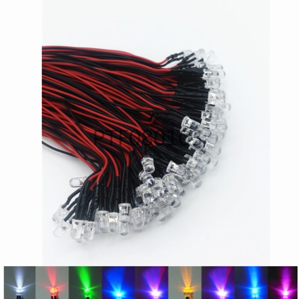20pcs Lot 20cm Pre Wired 3mm 5mm LED Light Lamp Bulb Prewired Emitting Diodes For DIY Home Decoration DC12V