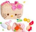 Brinquedos do bebê KT Gato Vegetais/Frutas Jogar Comida saco Tecido Brinquedos De Madeira Vaso De Madeira Educação Brinquedos De Madeira de Alimentos Da Cozinha Presente de aniversário
