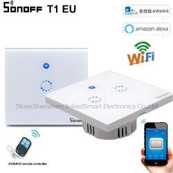 Sonoff T1 ue 1 2 Gang inteligentny zegarek Wi-Fi automatyki inteligentnego domu 433 MHZ dotykowy/WiFi/RF/APP przełącznik zdalny wsparcie Alexa google domu