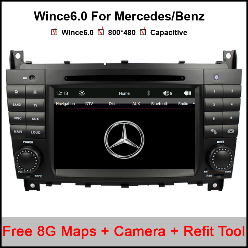 7 Inch Two Din Car DVD Player For Mercedes/Benz/W203/W209/W169/W219/A-Class/A160/C-Class/C180/C200/CLK200/CLK350 Radio GPS BT