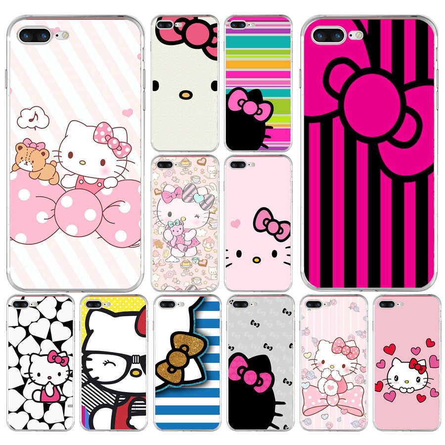 76A moda Hello Kitty suave TPU funda de silicona para Apple iPhone 6 6 s 7 8 plus funda