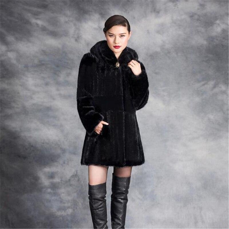 Veste Mode Femmes Longues Couleur Black Hiver A3935 Manteau Naturel Fourrure 4xl En Fausse Noir Manches Chaud De Xl À FEqEpwY