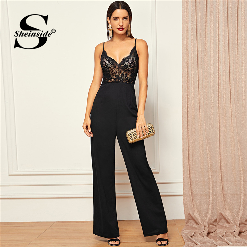 Sheinside Sheer Lace Bodice Straight Leg Cami   Jumpsuit   Women Backless Sexy Black   Jumpsuits   Ladies 2019 Solid Summer   Jumpsuit