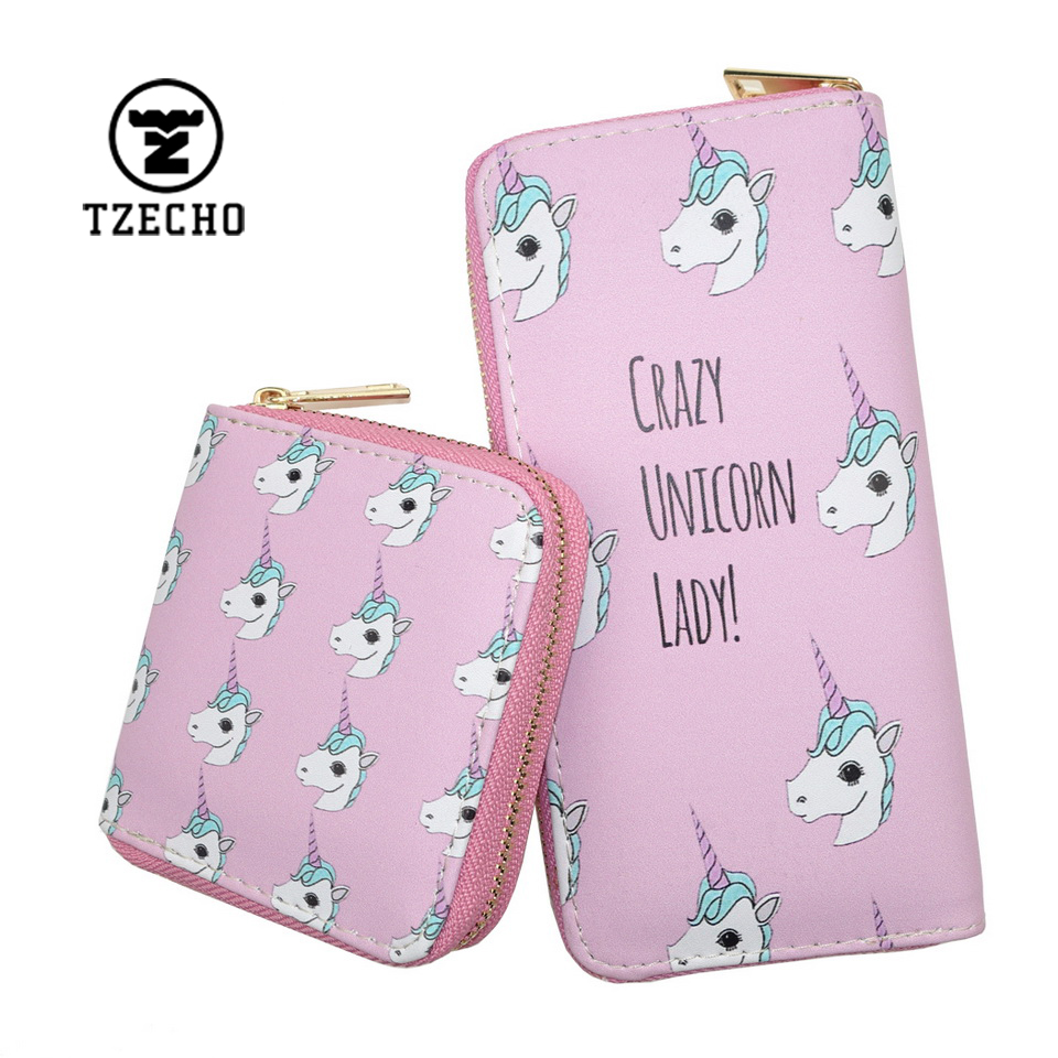 TZECHO Zipper Around Wallets For Women With Phone PU Cartoon Unicorn Clutch Purses Small Cards Holder Long Ladies Mini Wallets tzecho women wallets long zipper wallet for women with phone pu walet skull head ladies clutch purses rfid credit cards holder