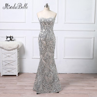 modabelle Formal Gowns Sequin Evening Dress Mermaid Luxury Robe Dubai Soiree 2018 African Long Prom Dress Silver Sparkly
