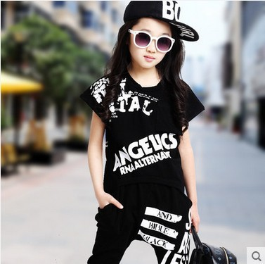 cdd2be8d83e Hip Hop Style 2019 Summer Girls Fashion Short Sleeve Dancing Clothing Set  Kid Tees Harem Pant Twinset Children Sport Clothes G19-in Clothing Sets  from ...