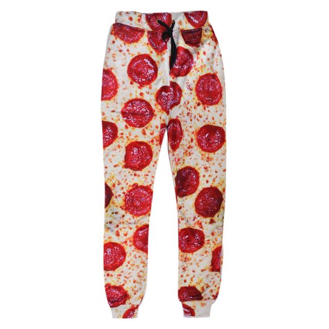 Nova moda masculina/mulheres calças pirnt pizza 3d movimento pé projeto calças de moletom de alta qualidade hip hop baggy jogger calças