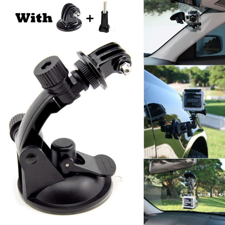 Go Pro Accessories Car Suction Cup Mount Holder Tripod Mount Adapter For Gopro Hero 4/3+/3/2/1 For Xiaomi Yi SJCAM SJ4000 dulane c00057 80cm powerful suction cup car holder for gopro hero 4 2 3 3 black