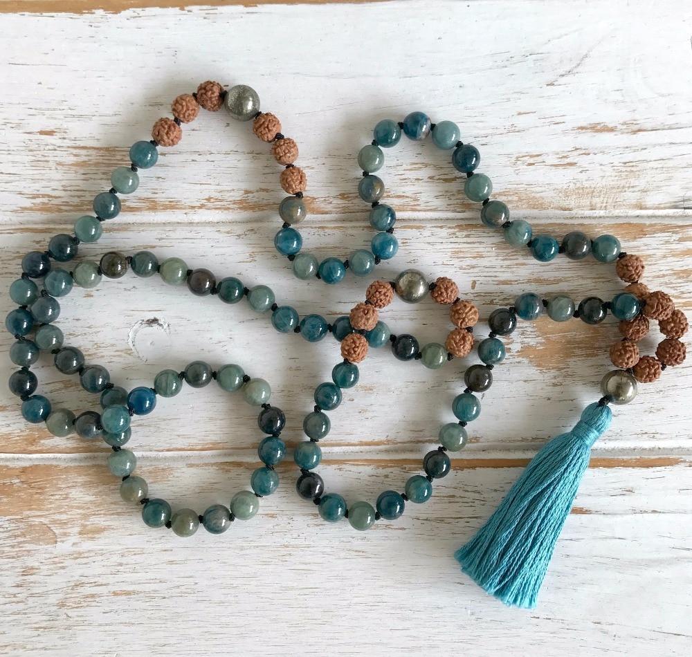 Takı ve Aksesuarları'ten Sallantılı kolye'de 108 Mala Boncuk Kolye Doğal Apatit Kolye El Düğümlü Yoga Takı Dua Püskül Kolye Meditasyon Kolye Boho Mala'da  Grup 1