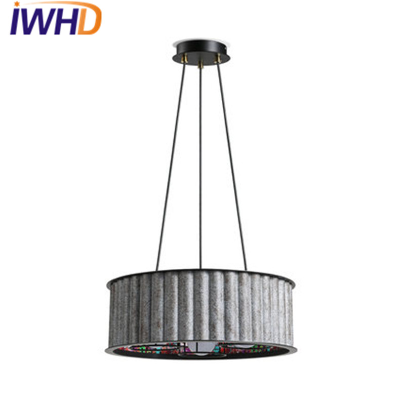 IWHD Loft Style Retro Iron Droplight Industrial Vintage Lighting LED Pendant Light Fixtures For Dining Room Bar Hanging Lamp