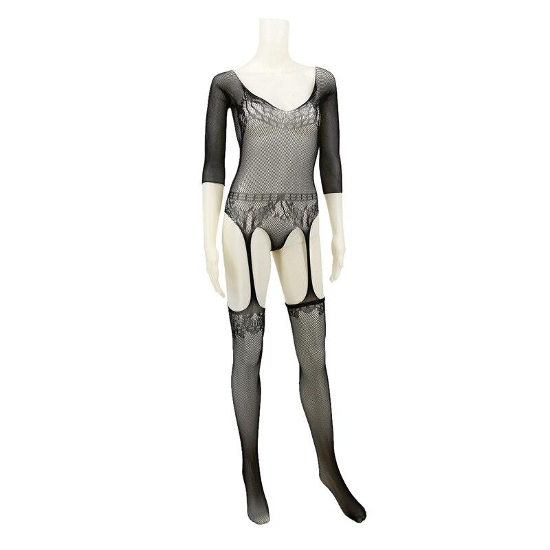 Buy Sexy Women Sleepwear Lingerie Babydoll Bodysuit Mesh Floral Body Stocking Temptation Intimate Catsuit Garter Nightwear C96167