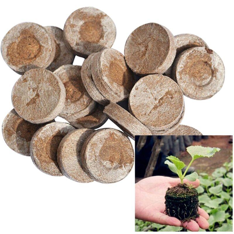 100 PC Nursery Nutrient Blocks Peat seedling Blocks Rich in Magic Soil Medium for Garden Pouring