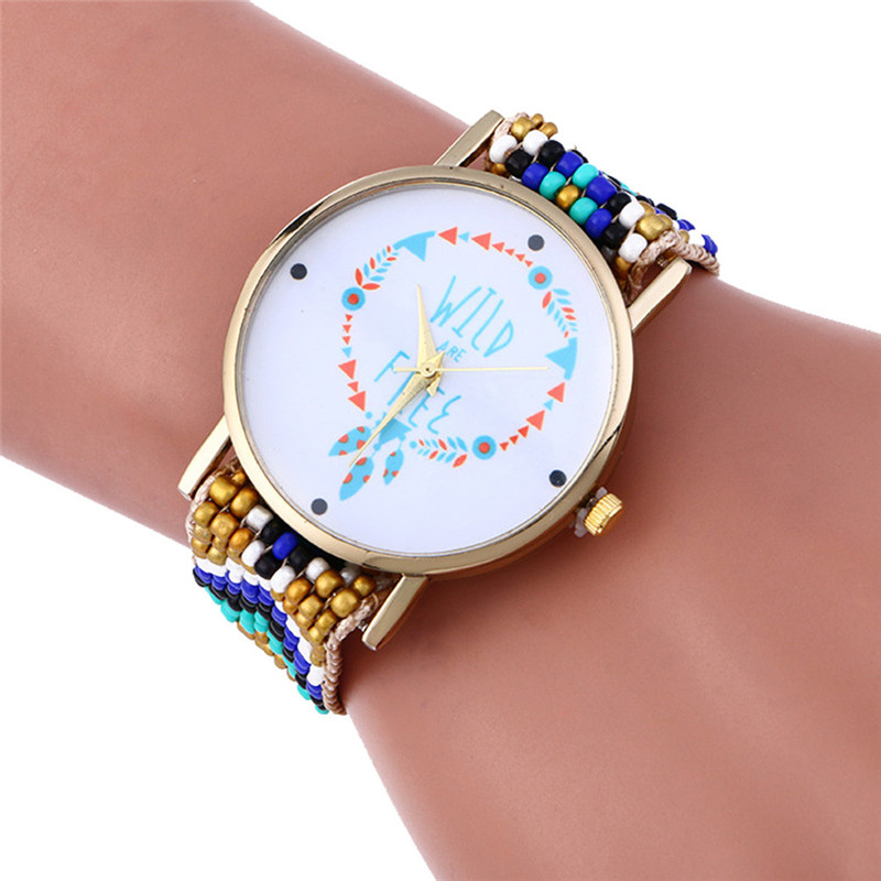 Womens Mens Ladies ribbon strap Quartz colorful Wrist Watch round ...