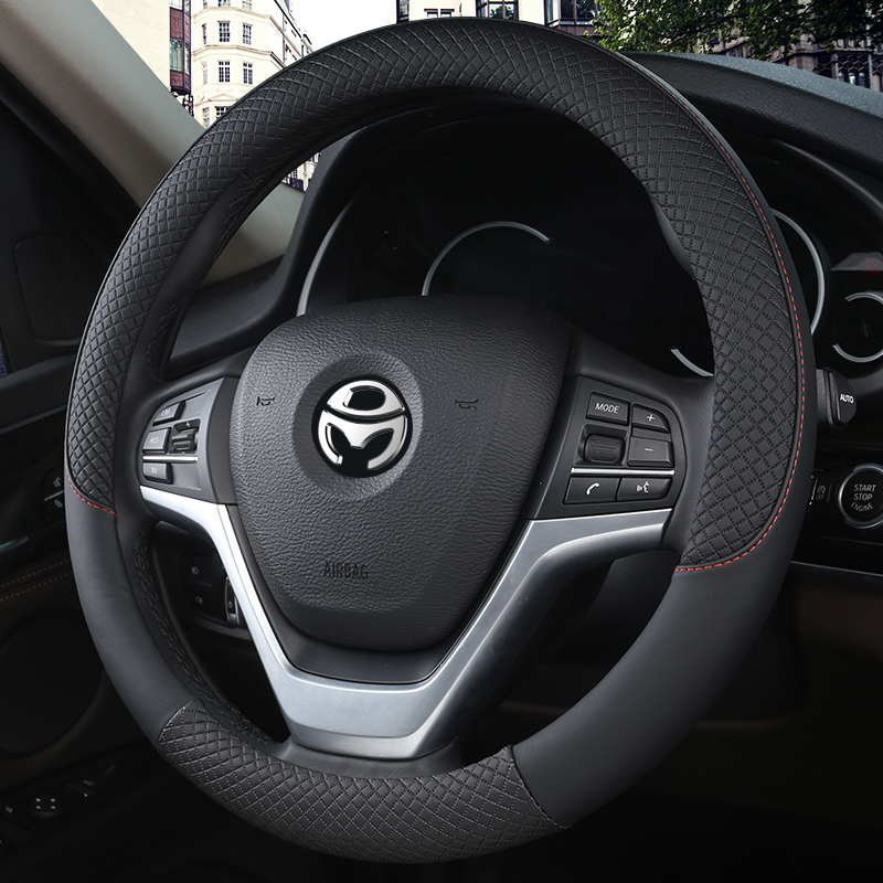 100% DERMAY Brand Leather Universal Car Steering-wheel Cover 37CM-38CM Car-styling Sport Auto Steering Wheel Covers Anti-Slip 3
