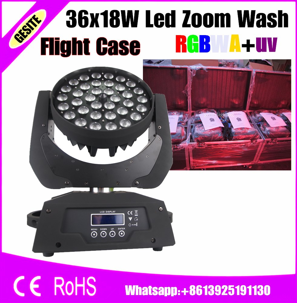 Lights & Lighting Flight Case Package 4 Pcs/lot 36x18w Rgbwa+uv Led Zoom Moving Head Wash Light Dmx Wash Led Moving Heads Neither Too Hard Nor Too Soft