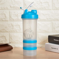 Protein Shaker Bottles 650ml Whey Protein My Botle Plastic 304 Stainless Steel Blue Black Sport Drinking