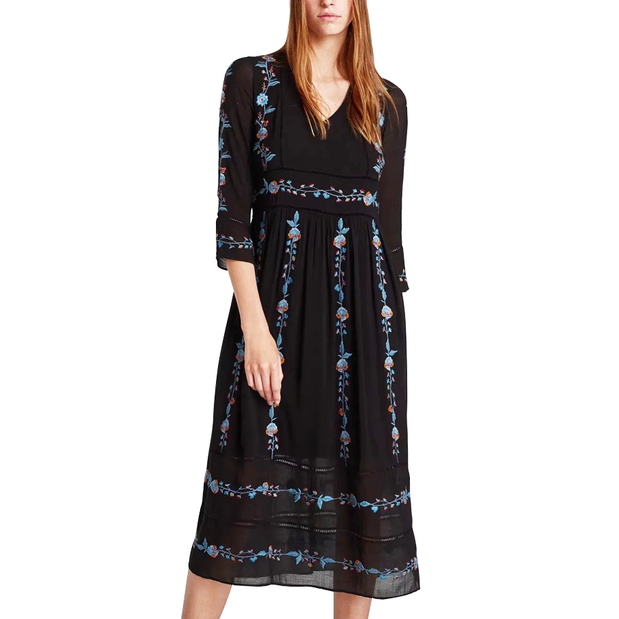 Boho noir longues robes 2017 automne floral broderie robe poignet manches v-cou décontracté vacances femmes robe vestidos