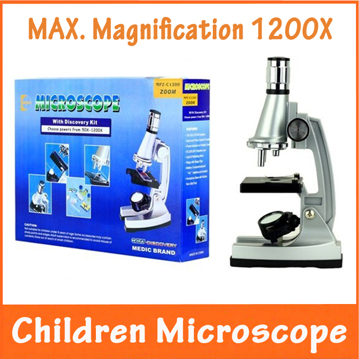 10x 20x Zoom Eyepiece LED Light 1200x Magnification Children Microscope with Illuminated Lamp and Reflecting Mirrorfor Students