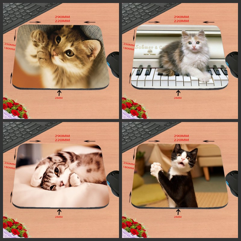 Cute Cat Best Price Black Rubber Print Mouse Mat Laptop Computer Gaming Mice Pads For Optical Laster Mats 18*22/25*20/29*25*2cm