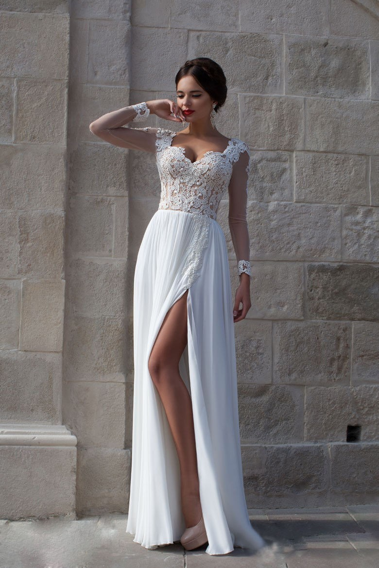 Alexzendra A Line Chiffon Beach Wedding Dress with Sleeves Lace Illusion Back Elegant Wedding Bridal Dresses Custom Made