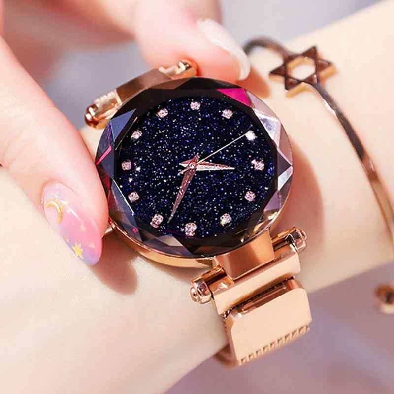 יוקרה יהלומי רוז זהב נשים שעונים שמי זרועי הכוכבים מגנטי רשת גבירותיי קוורץ שעון יד relogio feminino montre femme 2018