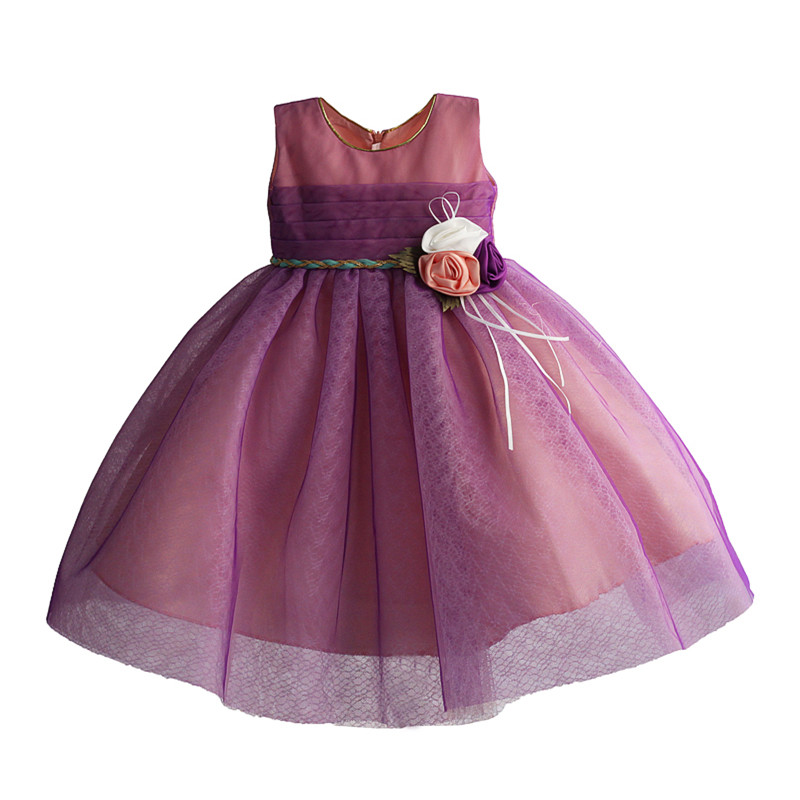 Girls Party Dress 2 Cols Princess Wedding Flower Girl Dress Sleeveless Purple Tulle Fashion Bow Lace  Kids Dresses 2-8Y 2017 kids girls wedding flower girl dress princess party pageant formal dress crossed back sleeveless lace tulle dress 2 14y