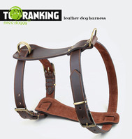 2016 Wonderful Pet Products New Design Double Belt Genuine Cow Leather Large Dog Harness for Pitbull Training Collar Harness