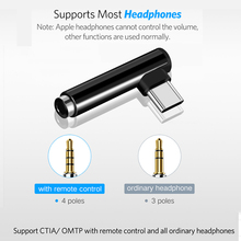 Robotsky USB C Earphone Adapter Type-C male to 3.5mm Jack female AUX Audio Cable Converter for Xiaomi