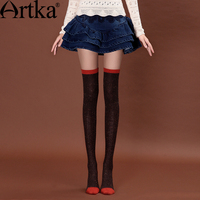 Artka Women S Ultra Elastic Winter Over The Knee Colorful Block Dot Anti Pilling Anti Shrink