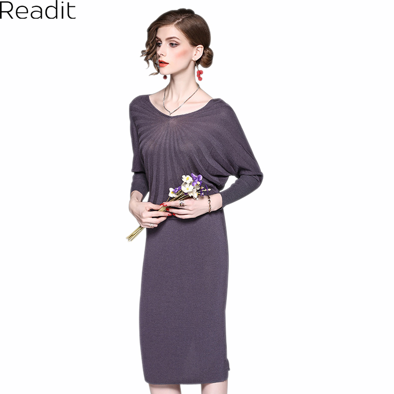 Readit Women Dress 2017 Autumn Black Gray Pink Knee Length Knitted Dress Radial Strip Pattern Batwing Sleeve Slim Dress D2523 dabuwawa 2016 slim fashion gray jeans women autumn